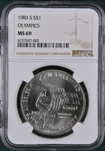 :1983 S $1-SILVER XXIII-OLYMPIC DISCUS COMMEMORATIVE NGC MS 69 R3 HIGHEST GRADES