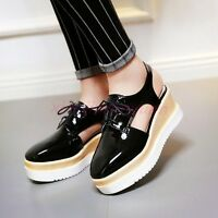 Women High Wedge Heel Platform Sandal Lace Up Trendy Slingback Faux Leather Shoe