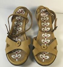 Fly London Sandals Mules Kitten Heels Ankle Strap Leather Mustard Yellow Size 40
