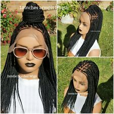 "Knotless Braids, Short Braided Wig, Lace Front Wig, Small Sized Braids, 14""-16"""