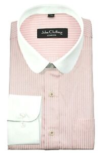 Penny Round Collar Pink White Pinstripes Peaky Blinders Long Sleeves Men's Shirt