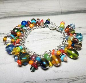 "Boho Festival Multi-Color Glass Beads Charm Link Bracelet Magnetic Clasp 7 1/8"""