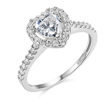 1.90 Ct Heart Shape Halo Engagement Wedding Promise Ring Solid 14K White Gold