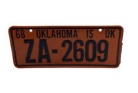 Vintage 1968 Wheaties Mini License Plate Oklahoma ZA-2609