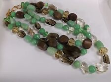 "BEAUTIFUL RETIRED STELLA & DOT CAMILLA NECKLACE JADE CRYSTAL WOOD 18"" 3 STRAND"