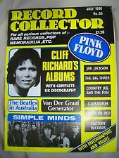 Record Collector Magazine. Issue no. 83. July 1986. Pink Floyd, Simple Minds