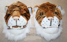BIG REAL LIFE JUNGLE BENGAL TIGER SLIPPERS FANGS TEETH Plush ADULT L 11/12 NWT