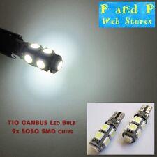 2x T10, W5W, 501, 194 Xenon White Canbus Led Bulb, 9x5050 Chip LED, New!