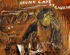 "NIGHT CAFE by RUTH FREEMAN ETCHED COPPER FOIL 8""X10"""