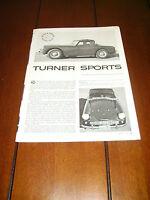 1961 TURNER SPORTS CAR  ***ORIGINAL ARTICLE / ROAD TEST***