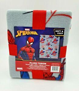 "Spider-Man Plush Throw Blanket "" Grey "" 40"" x 50"" ~ New"