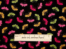 Pink Ribbon Cancer Awareness Love & Hope Butterfly Toss Black Cotton Fabric YARD