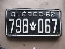 1962 62 QUEBEC CANADA CANADIAN LICENSE PLATE  RARE # 798 067