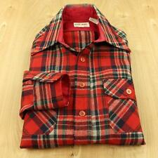 DARWIN wool blend flannel work shirt, size SMALL, red plaid lumberjack vtg