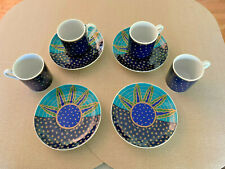 4 Vintage Ceramic Demi-Tasse Cups and Saucers by Habitat in Soleil Pattern