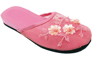 Women's Chinese Mesh Slipper Sequin Floral Beaded Sandals Flip Flops House Shoes