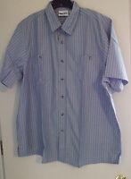 Men's Casual Shirt Soft Teal Stripe 2 Chest Pocket Side Vents Sizes 2XL - 5XL