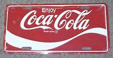 WHITE & RED ENJOY COCA COLA LICENSE PLATE SIGN EMBOSSED WAVE DESIGN