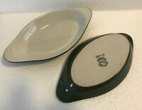 Set of 2 Baking Dishes Don Gibraltar Cookware Stoneware Green / White 9.5 x 5 in