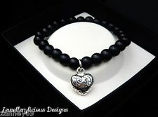 Beautiful Black Pearl Bead & Silver Puffed Love Heart Bracelet Bangle 15cm -20cm