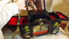 VINTAGE BLACK LACQUER JAPANESE MUSICAL JEWELRY BOX, with Rickshaw and Lights