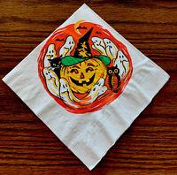 "1 Rare Vintage Tuttle Halloween Crepe Paper 13.5x13.5"" Pumpkin Ghosts Napkin NOS"