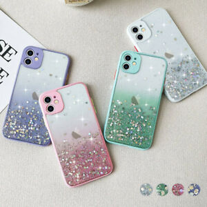 Glitter Clear Case for iPhone 12 11 Pro X XR 8 7 SE Shockproof Girls Phone Cover