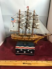 """Vintage American Scooner Moving Ship """"Anchors Aweigh"""" Music Box See Video"""