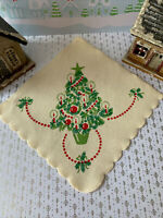 """1 Vintage 1920's Green Red Christmas Tree with Candles Crepe Paper Napkin 9x9""""in"""