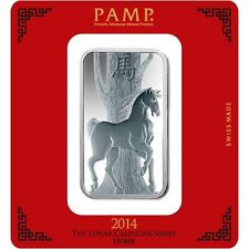 100 Gram PAMP Suisse Horse Silver Bar .999 fine (New w/ Assay)