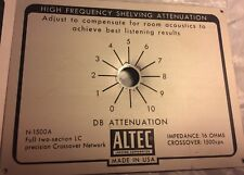 All Tech Altec Lansing Precision Crossover Network Speaker Dial Plate Parts