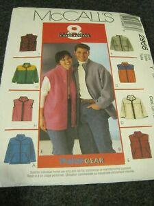 McCALL'S 2966 POLAR GEAR UNISEX JACKET / VEST Sewing Pattern Sml-Lrg 2000 UNCUT