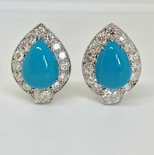 Vintage French Platinum Diamond Turquoise Earrings Circa 1950's