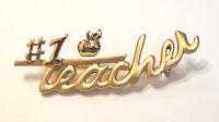 #1 Teacher Apple Brooch Pin Gold Tone