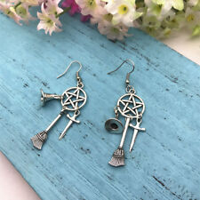 New Wiccan Charm Earrings Wicca Pagan Witch Earrings Witchcraft Sword Witch Hat