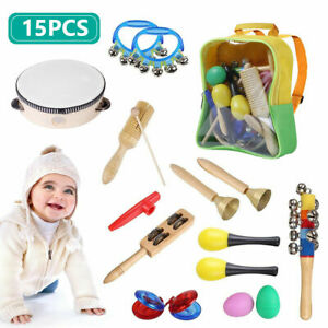 Childrens 15 Piece Wooden Toy Musical Instrument Set Kids Jingle Bells