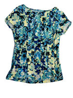 Ann Taylor Fitted Floral Blouse Top Shirt Women's Med Blue Yellow Stretch
