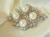 Stunning Sparkling Vintage 80's Ice Rhinestone Faux Pearl XX Classy Brooch 499a7