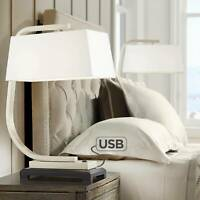 Modern Table Lamp with USB Port Metal White Linen Shade for Living Room Bedroom