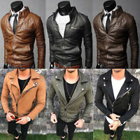 Mens Jacket Collar Slim Fit Motorcycle Leather Coat Outwear Winter Warm Short