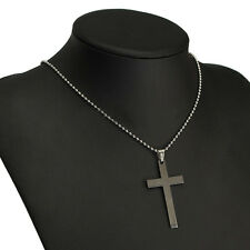 Neu Kreuz Anhänger Halskette Edelstahl Herren Damen Kette
