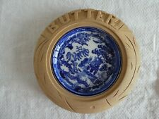 More details for lovely vintage carved wood surround english butter dish kitchenalia with liner