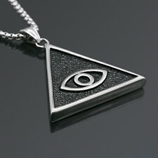"24"" Men's Stainless Steel Silver Black Evil Eye Pendant  Necklace Chain"