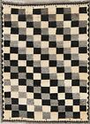 3 x 5 Gabbe Wool Hand-Knotted Geometric Oriental Checked Area Rug Black