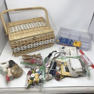 *+1950's Jc Penny Brand Woven Sewing Basket made in Japan Vintage Sewing Notions