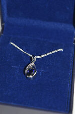 ByJoy 925 Sterling Silver Oval Cut Pendant on a Curb Chain of 45cm Sapphire S