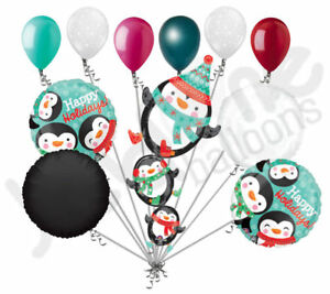 11 pc Stacked Penguins Happy Holiday Balloon Bouquet Party Decoration Christmas