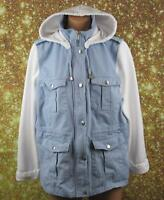 ROCKMANS SIZE 18 WOMANS, BLUE & WHITE HOODED JACKET