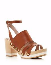 Furla Gina Three Strap Clog Sandals Leather Shoes Beige Khaki 36 6 NEW $295
