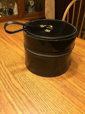 Vintage Round Black Zip-Up Hat Wig Box With Crown Emblem
